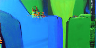 Green Valley by Gajanan Kashalkar, Geometrical Painting, Acrylic on Canvas, Green color