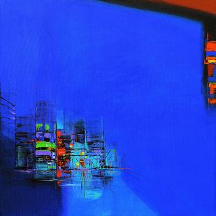 City ocean by Gajanan Kashalkar, Abstract Painting, Acrylic on Canvas, Blue color