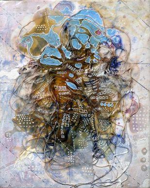 Leviathan - 2 by Viraag Desai, Abstract Painting, Mixed Media on Canvas, Gray color