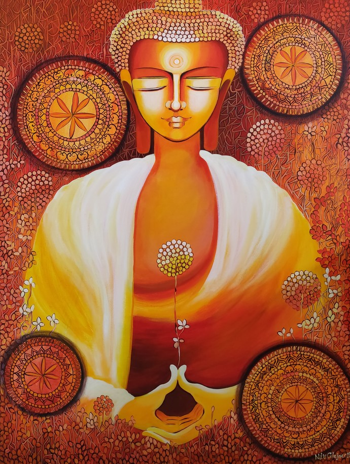 BUDDHA - JOURNEY TOWARDS ENLIGHTENMENT- SERIES 2 by NITU CHHAJER, Decorative Painting, Acrylic on Canvas, Brown color
