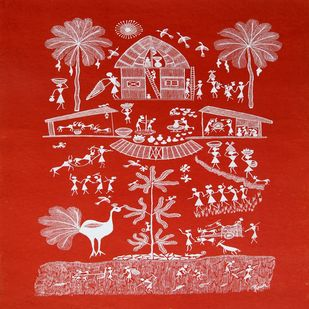 ANCIENT WARLI ARTS ON HANDMADE PAPER by HARPREET KAUR PUNN, Folk Painting, Acrylic on Paper, Red color