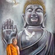Buddha 18 x 24 acrylic painting by debojyoti boruah