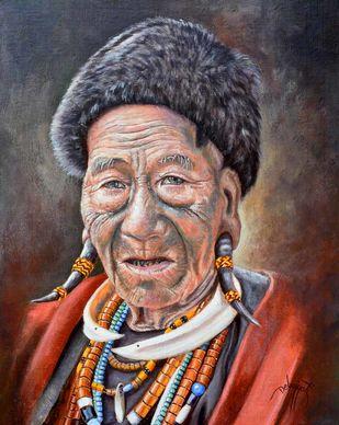 Konyak of Nagaland by Debojyoti Boruah, Expressionism Painting, Acrylic on Canvas,