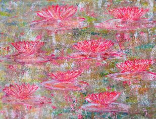 Water Lillies: vivid by Cheena Madan, Abstract Painting, Acrylic on Canvas, Pink color