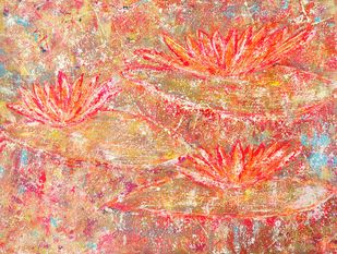 Water Lillies: joy by Cheena Madan, Expressionism Painting, Acrylic on Canvas, Brown color