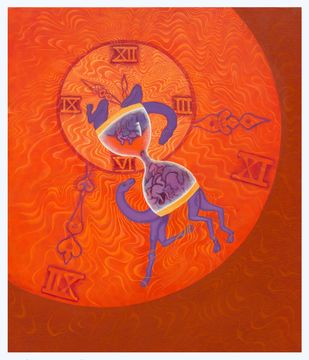 Time Machine by Savita Ram Tathe, Expressionism Painting, Acrylic on Canvas, Red color