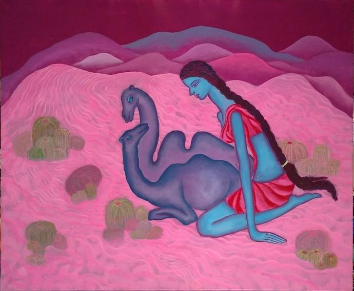 Love Night by Savita Ram Tathe, Expressionism Painting, Acrylic on Canvas, Purple color