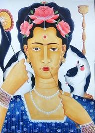 Kali-Kahlo 3 by Bhaskar Chitrakar, Folk Painting, Natural colours on paper,