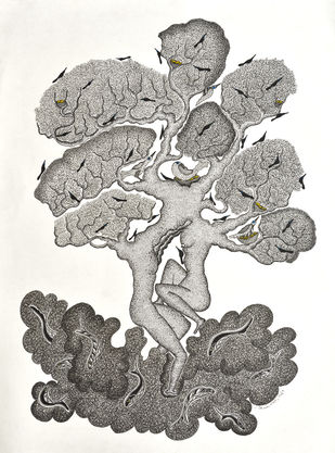 Untitled by Mayank Shyam, Folk Painting, Ink on Paper,