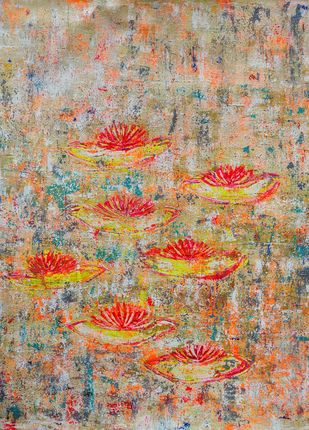 Water Lillies: apricity by Cheena Madan, Abstract Painting, Acrylic on Canvas,