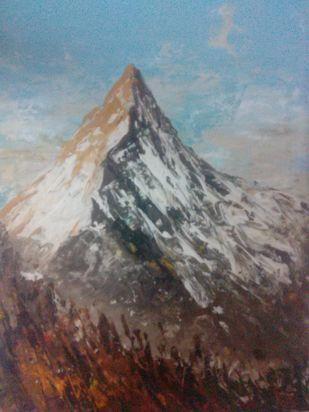 Mountain scape Digital Print by Vivek Sharma,Impressionism