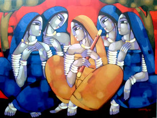 Purbaraag by Sekhar Roy, Traditional Painting, Acrylic on Canvas,