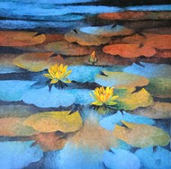 Waterlilies by Swati Kale, Expressionism Painting, Oil on Canvas,