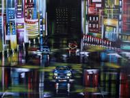 Urban Night1 by Shveta Saxena, Expressionism Painting, Acrylic on Canvas,