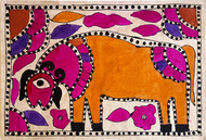 Gloat by Yamuna Devi, Folk Painting, Earth pigments on handmade paper,