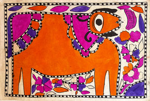 In The Pasture by Yamuna Devi, Folk Painting, Earth pigments on handmade paper,