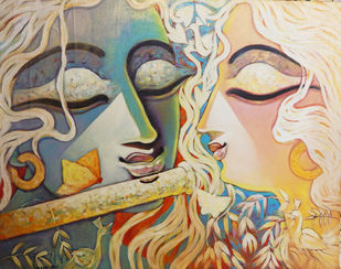 SILENT LOVE - V by Subrata Ghosh, Expressionism Painting, Acrylic on Canvas,