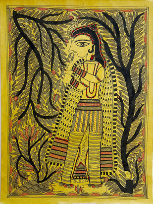 The Nectar Of Devotion by Asha Devi, Folk Painting, Earth pigments on handmade paper,