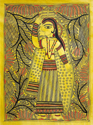 Return From The River by Asha Devi, Folk Painting, Earth pigments on handmade paper,