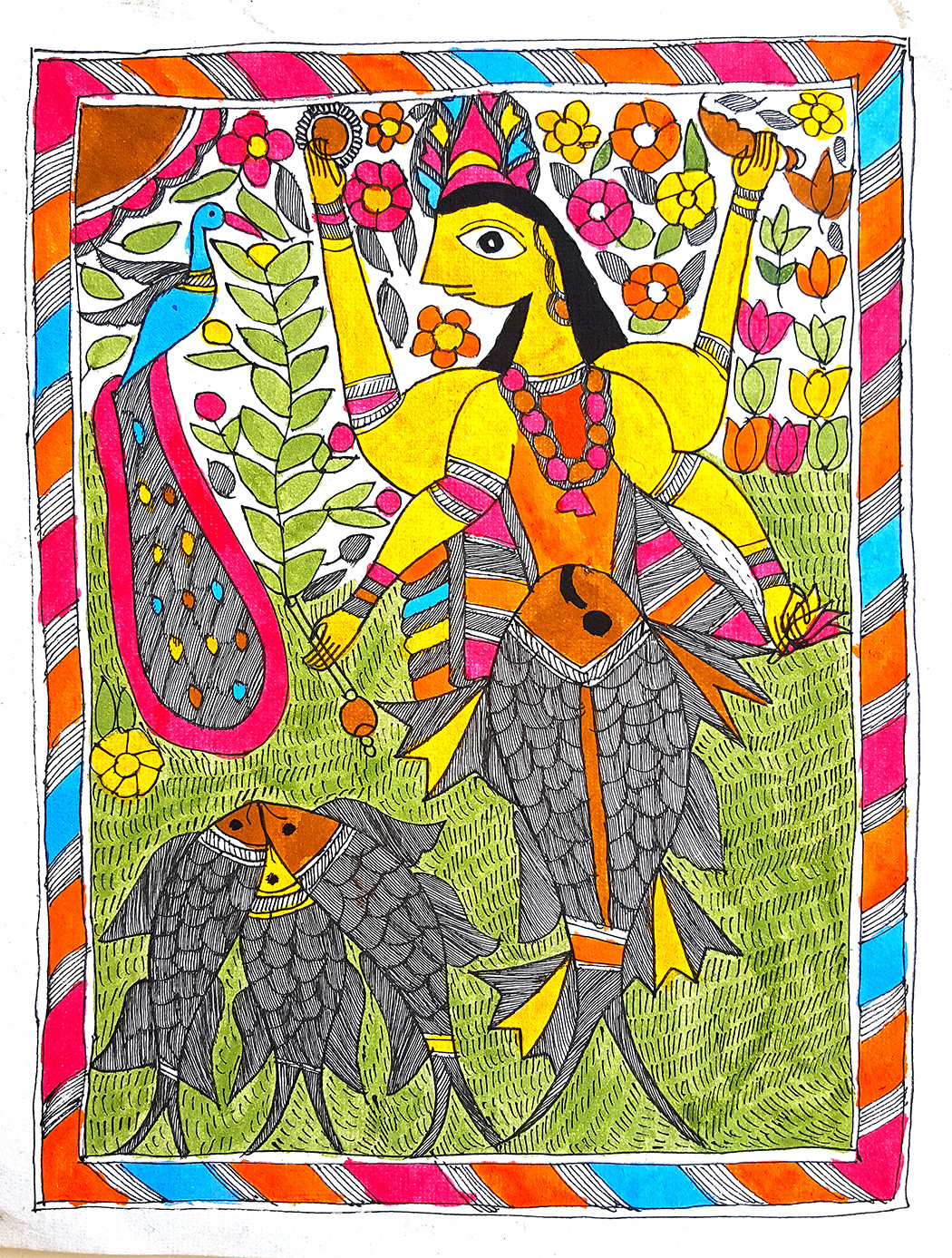 Matsya Avatar by Rainu Devi, Folk Painting, Earth pigments on handmade paper,