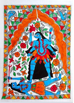 Kali Trampling Shiva by Rainu Devi, Folk Painting, Earth pigments on handmade paper,