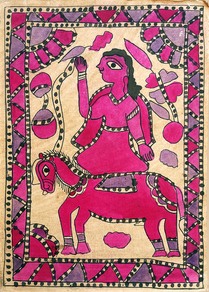 A Crossing by Yamuna Devi, Folk Painting, Natural colours on paper,