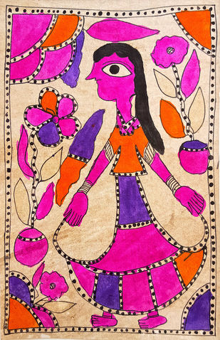 Spring Breeze by Yamuna Devi, Folk Painting, Natural colours on paper,