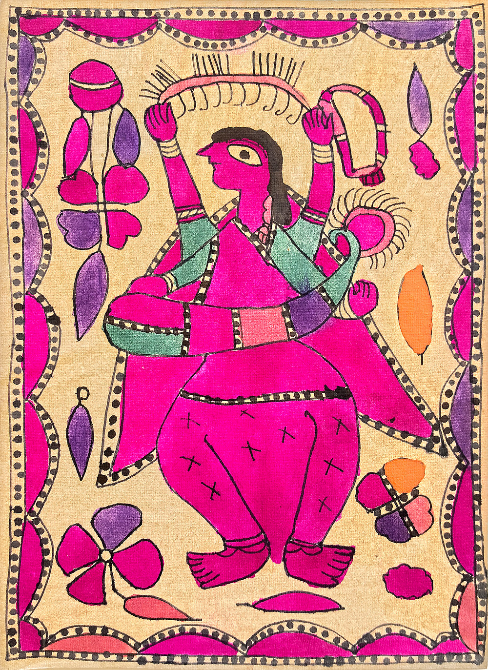 Saraswati Avatar by Yamuna Devi, Folk Painting, Natural colours on paper,
