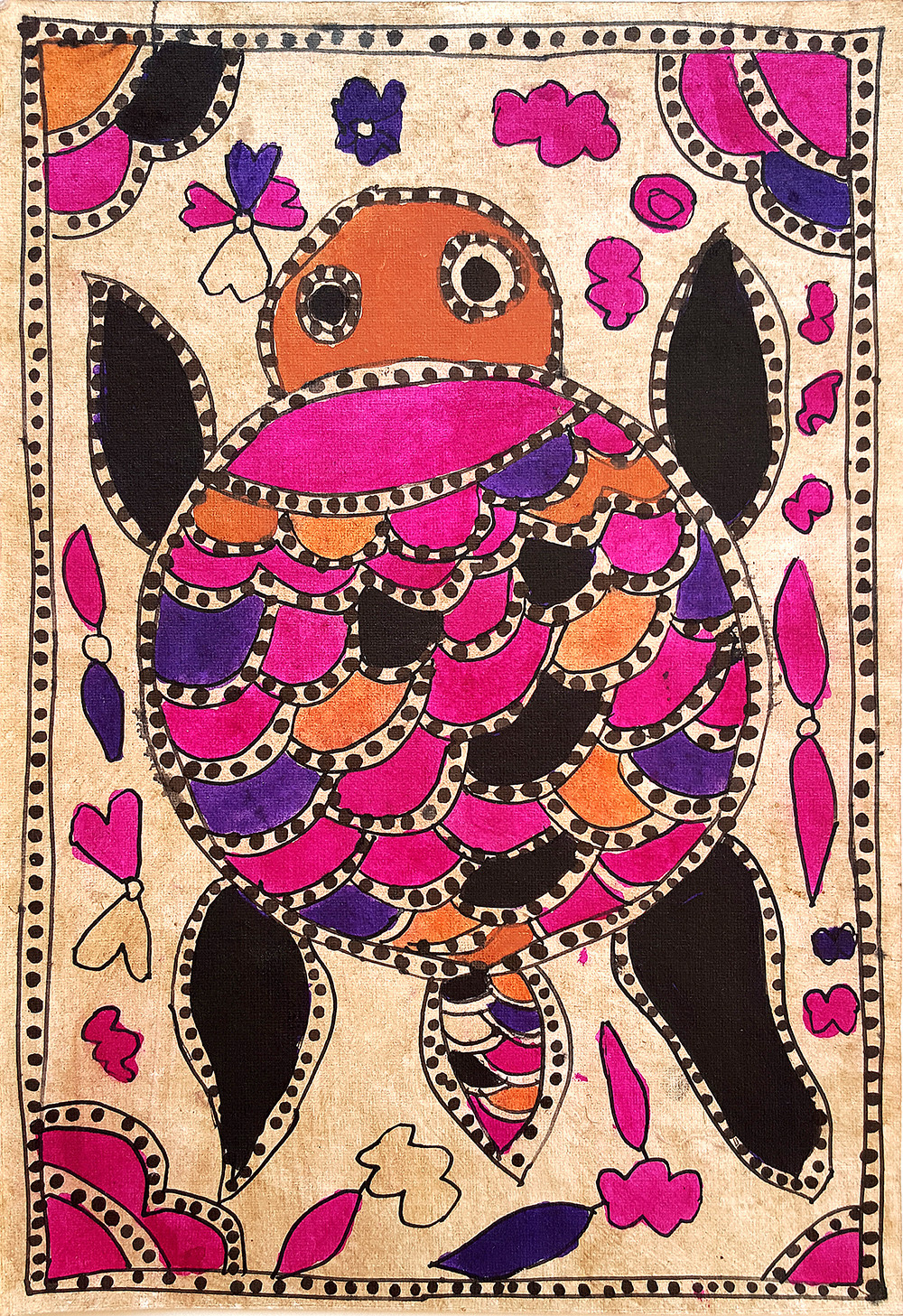 A Sacred Turtle by Yamuna Devi, Folk Painting, Natural colours on paper,