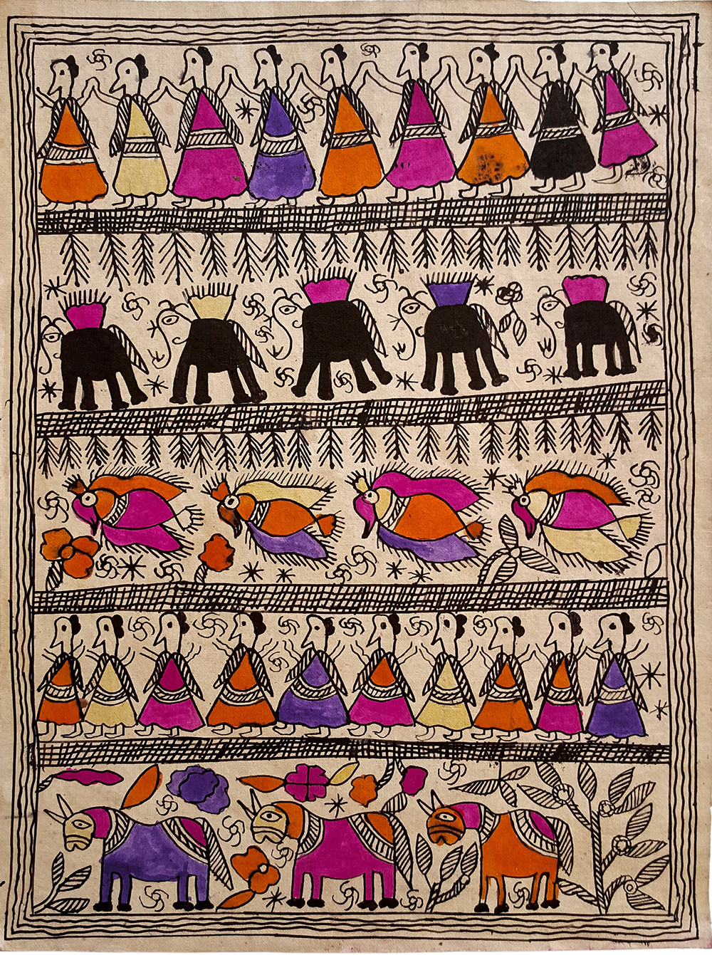 Running Free by Yamuna Devi, Folk Painting, Natural colours on paper,