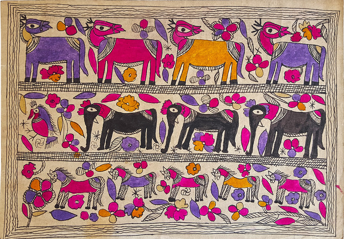 Deer Friends by Yamuna Devi, Folk Painting, Natural colours on paper,