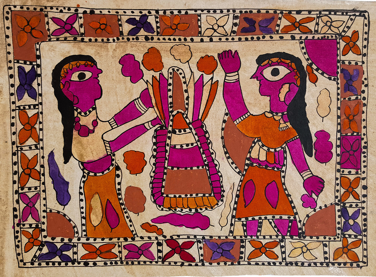 Play In The Summer by Yamuna Devi, Folk Painting, Natural colours on paper, Red color