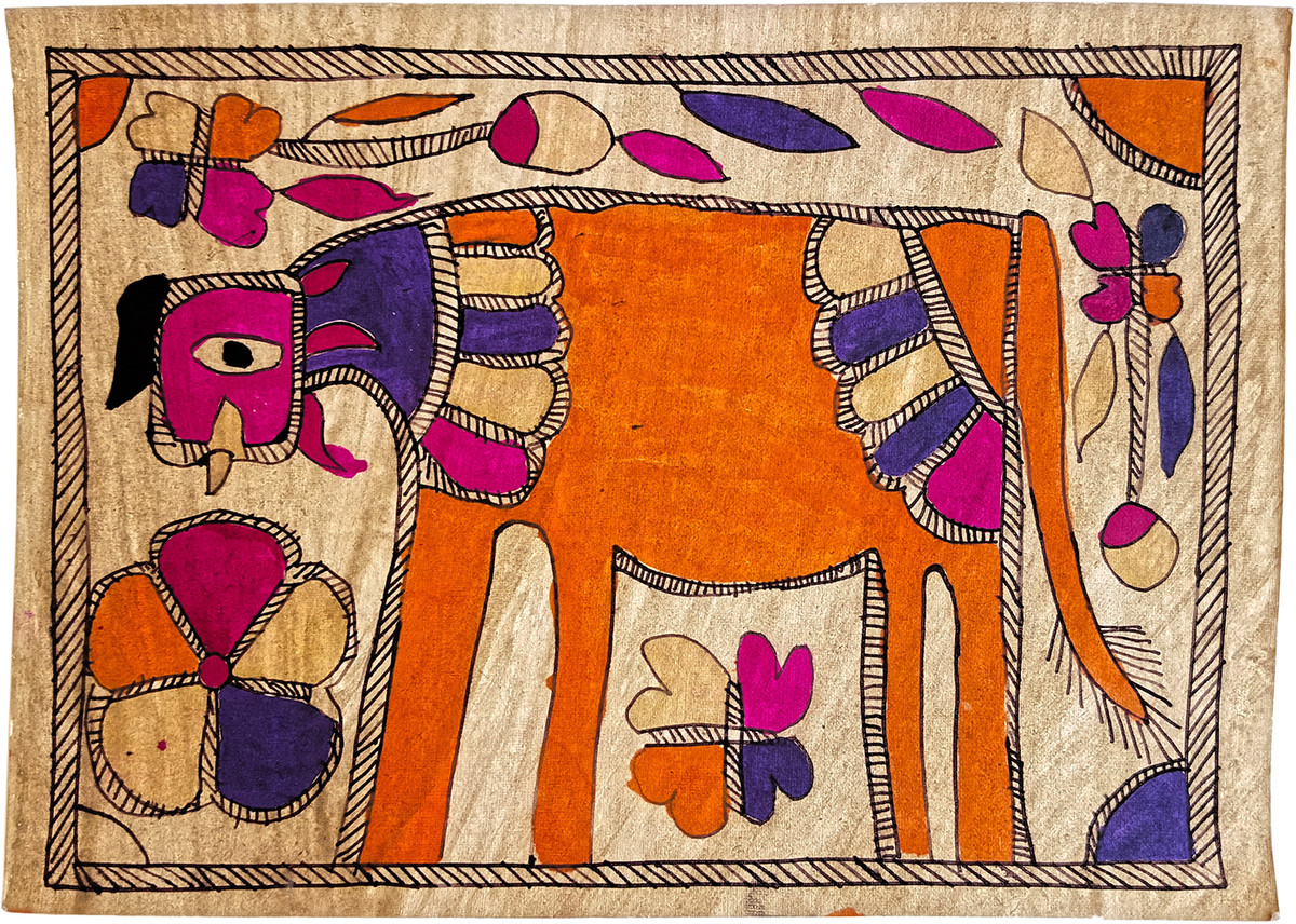 Cow In The Meadow by Yamuna Devi, Folk Painting, Natural colours on paper,