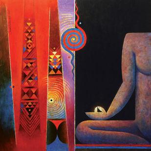 Sayyama by Sunil Balkawade, Geometrical Painting, Acrylic on Canvas,