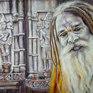 Sadhu in kamakhya 24 x 18 acrylic painting by debojyoti boruah