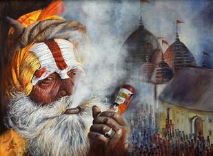 DIVINE KAMAKHYA II by Debojyoti Boruah, Expressionism Painting, Acrylic on Canvas,