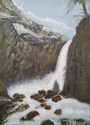 Yosemite by Deshbandhu Jadli, Impressionism Painting, Watercolor on Paper,