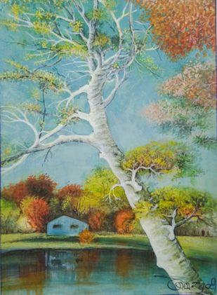 The Aspen tree by Deshbandhu Jadli, Impressionism Painting, Watercolor on Paper,