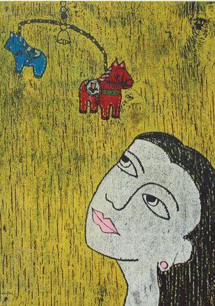 Portrait II by Kanika Shah, Expressionism Printmaking, Wood Cut on Paper,