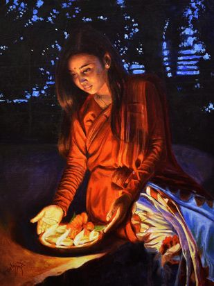 PRAYER by Debojyoti Boruah, Realism Painting, Acrylic on Canvas,