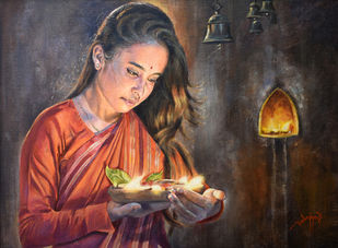 PRAYER II by Debojyoti Boruah, Realism Painting, Acrylic on Canvas,