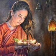 Girl with lamp 24 x 18 acrylic painting by debojyoti boruah
