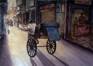 TIME OF WORK by Ram Kumar Maheshwari, Impressionism Painting, Watercolor on Paper, Brown color