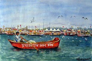 PRAYAGRAJ 19 by Ram Kumar Maheshwari, Impressionism Painting, Watercolor on Paper, Cyan color