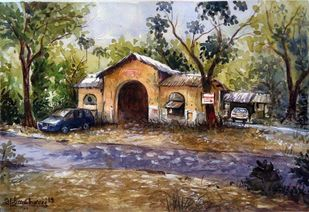 MUMBAI SPOT by Ram Kumar Maheshwari, Impressionism Painting, Watercolor on Paper, Brown color