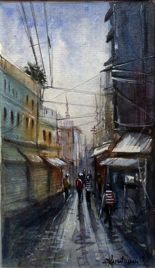 AFTER RAIN -II by Ram Kumar Maheshwari, Impressionism Painting, Watercolor on Paper, Gray color