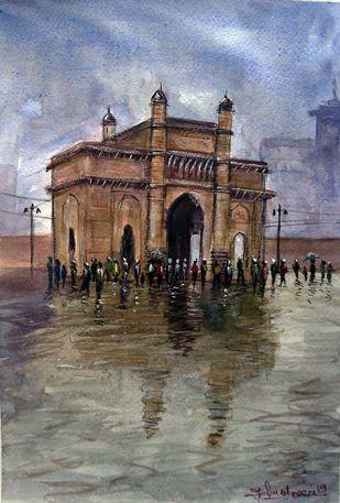 ENJOY IN RAIN by Ram Kumar Maheshwari, Impressionism Painting, Watercolor on Paper, Brown color