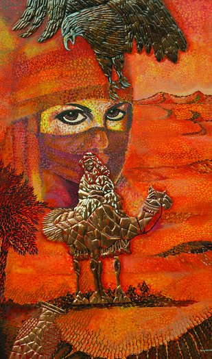 DESERT by Raveendran Valapad, Expressionism Painting, Mixed Media, Brown color