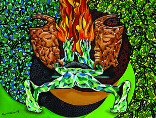 THIRD GENDERS by Raveendran Valapad, Expressionism Painting, Mixed Media, Green color