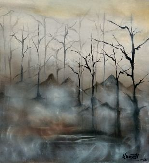 The Mist by Unnati S Khare, Impressionism Painting, Acrylic on Canvas, Beige color